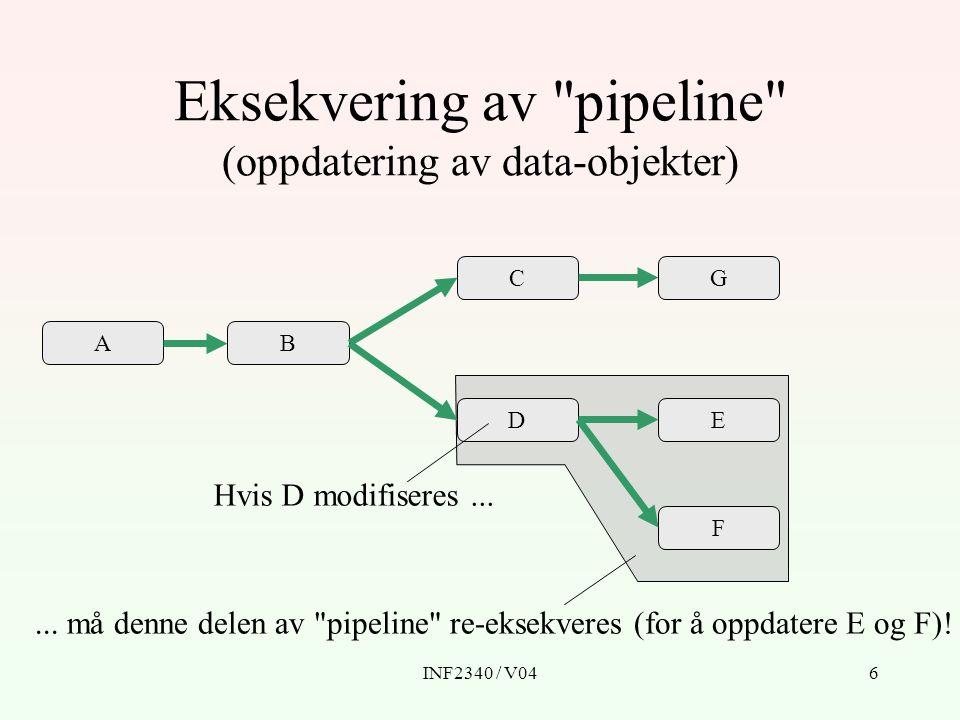 Eksekvering av pipeline (oppdatering av data-objekter)