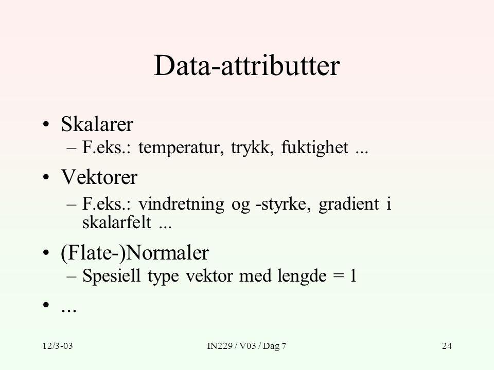 Data-attributter Skalarer Vektorer (Flate-)Normaler ...