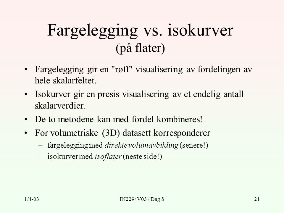 Fargelegging vs. isokurver (på flater)