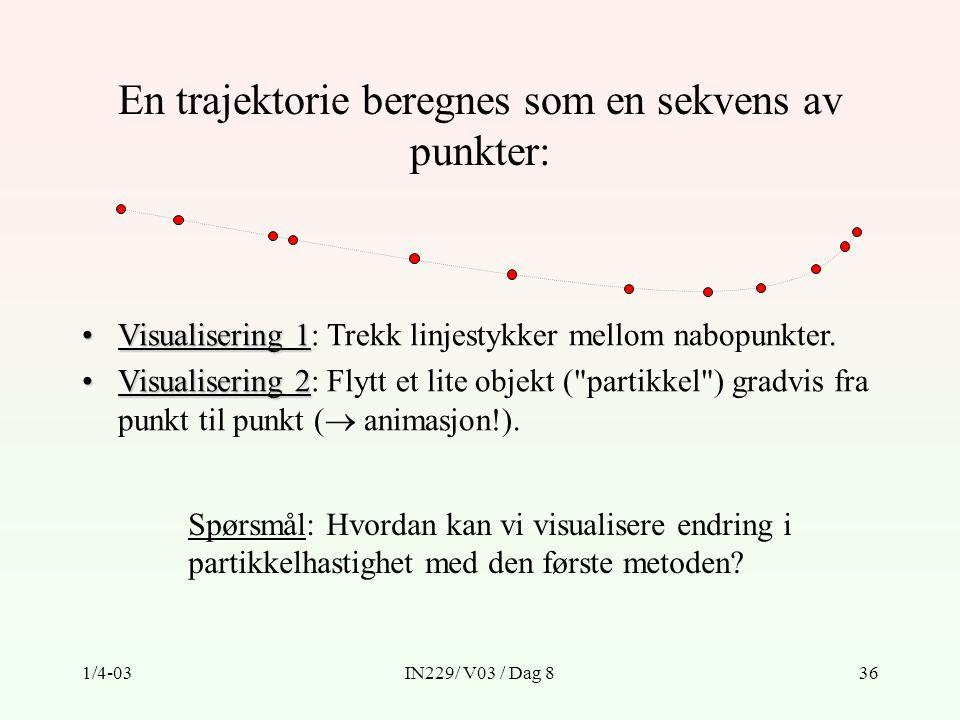 En trajektorie beregnes som en sekvens av punkter: