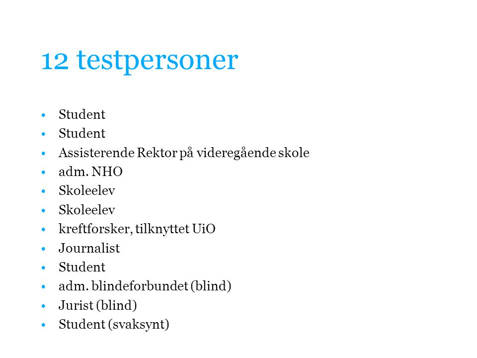 12 testpersoner Student Assisterende Rektor på videregående skole