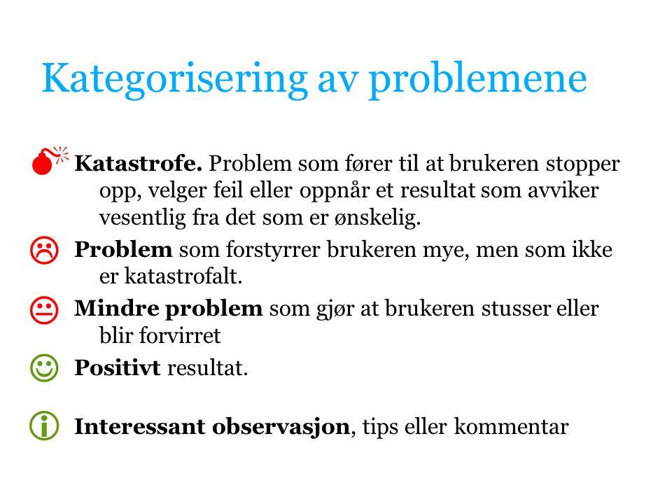 Kategorisering av problemene