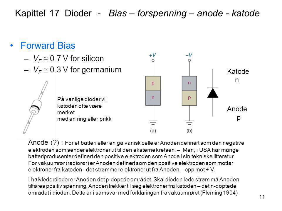 Kapittel 17 Dioder - Bias – forspenning – anode - katode