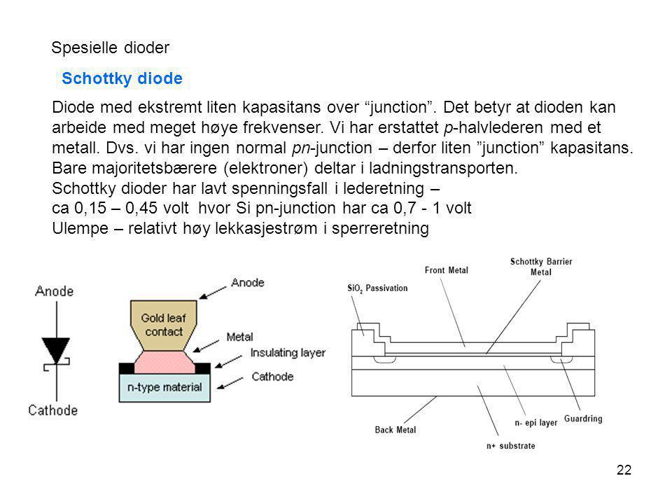 Spesielle dioder Schottky diode.