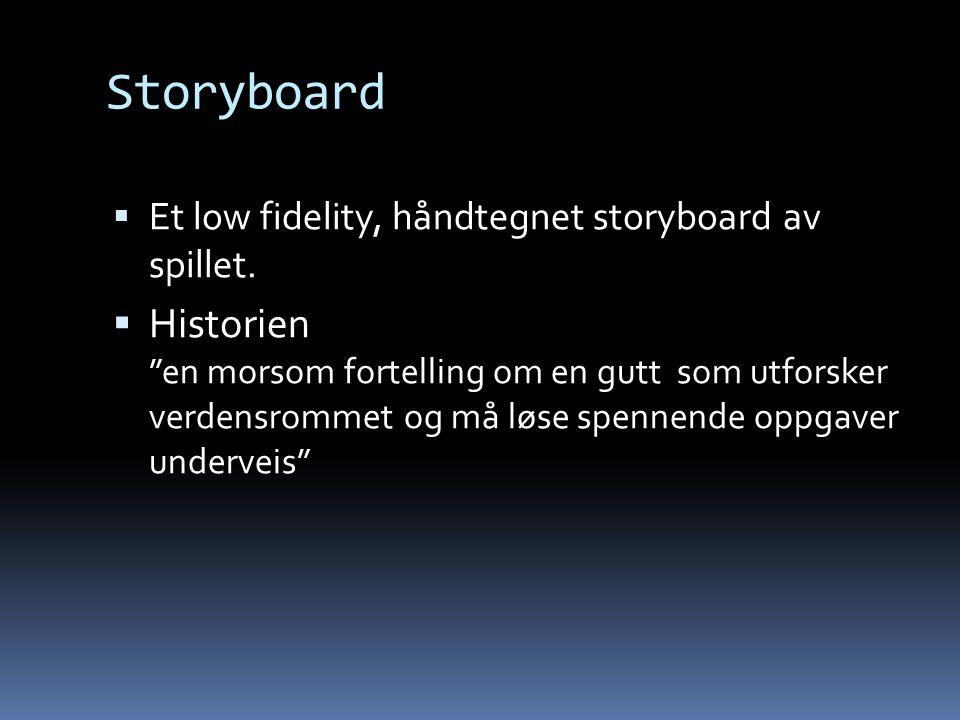 Storyboard Et low fidelity, håndtegnet storyboard av spillet.