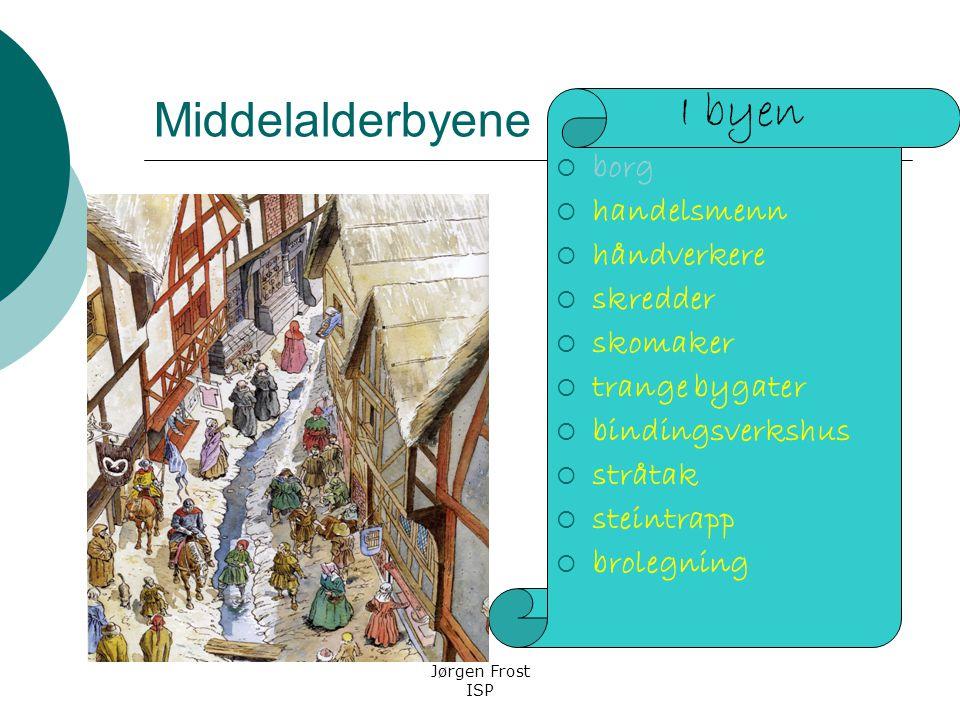 Middelalderbyene I byen borg handelsmenn håndverkere skredder skomaker