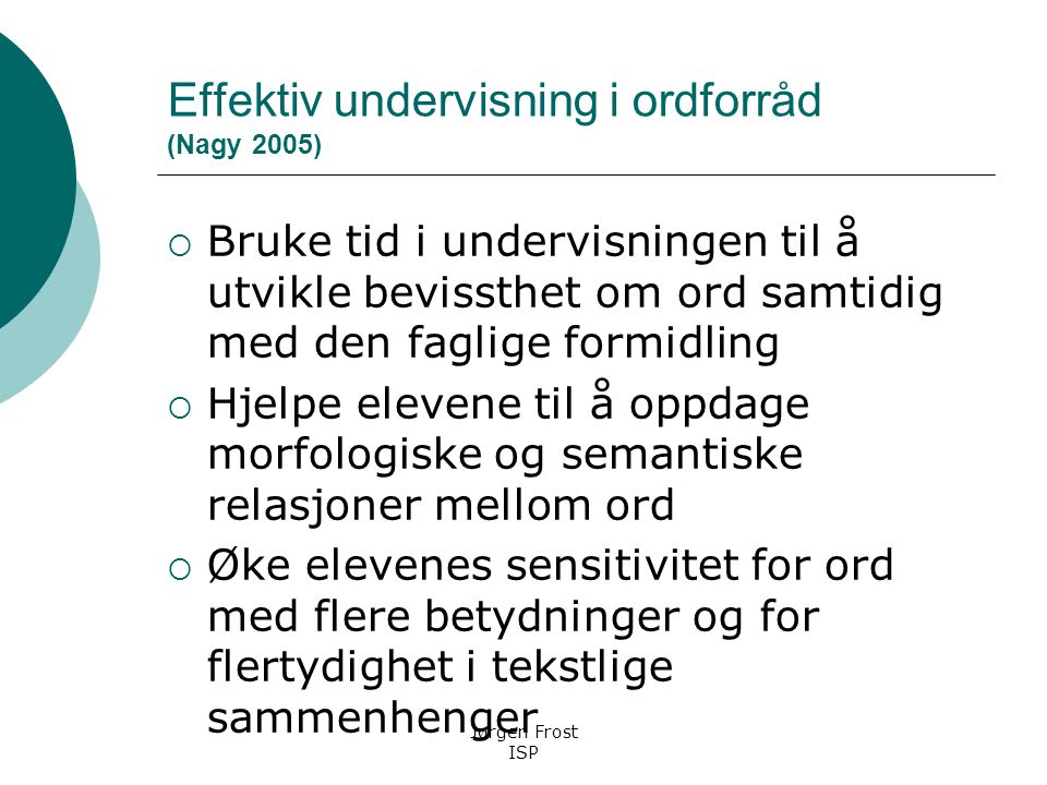 Effektiv undervisning i ordforråd (Nagy 2005)