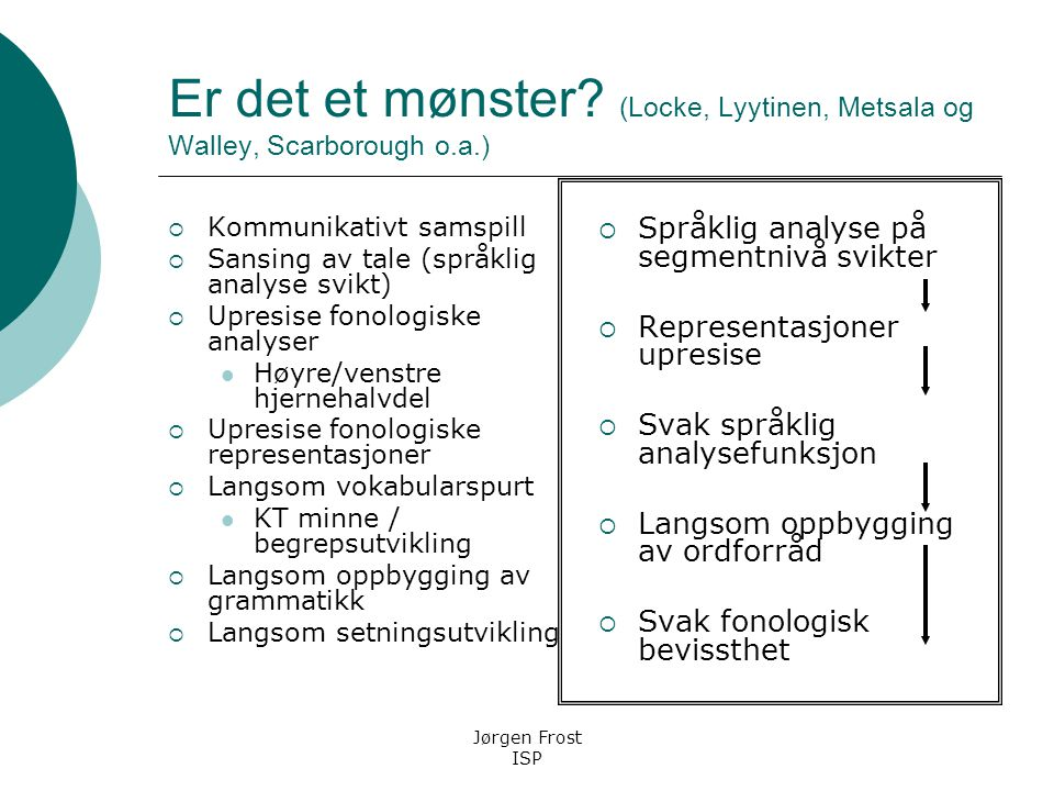 Er det et mønster. (Locke, Lyytinen, Metsala og Walley, Scarborough o