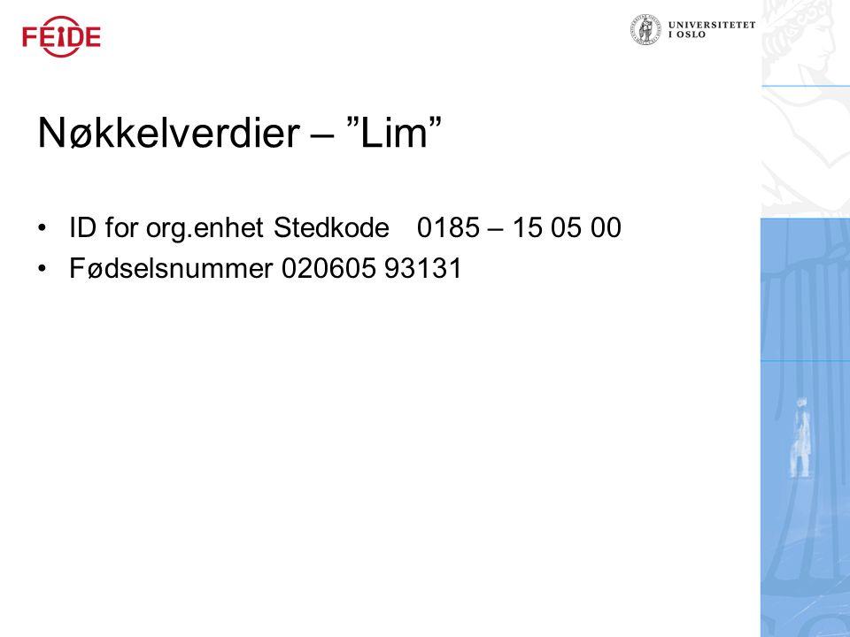 Nøkkelverdier – Lim ID for org.enhet Stedkode 0185 – 15 05 00