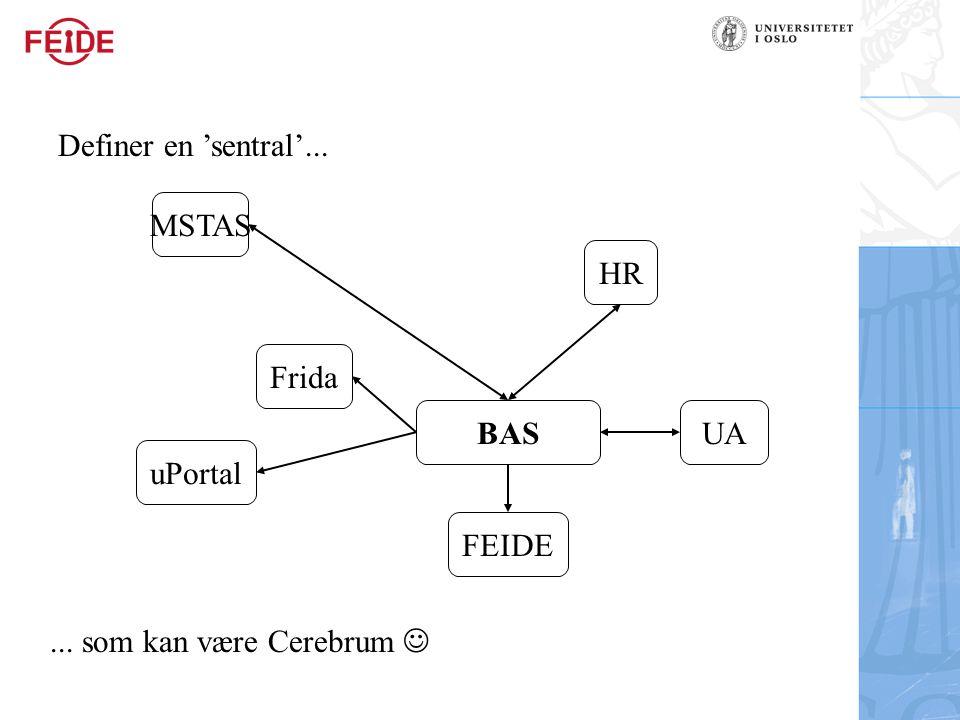 Definer en 'sentral'... MSTAS HR Frida BAS UA uPortal FEIDE ... som kan være Cerebrum 