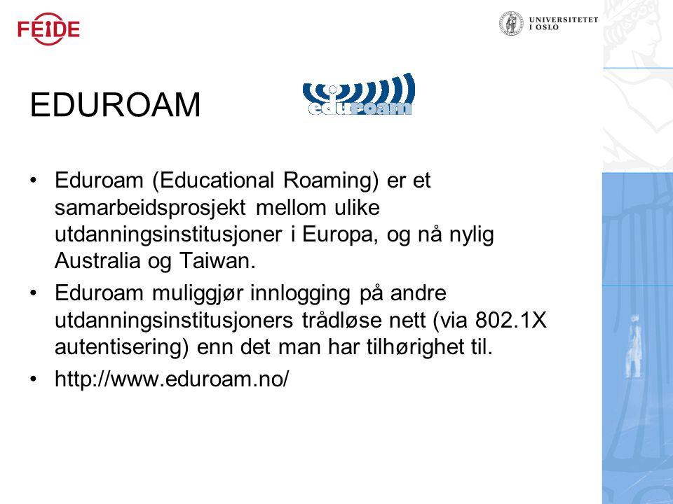 EDUROAM Eduroam (Educational Roaming) er et samarbeidsprosjekt mellom ulike utdanningsinstitusjoner i Europa, og nå nylig Australia og Taiwan.