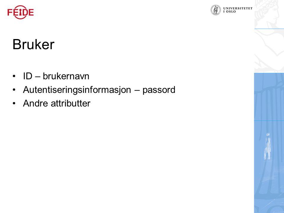 Bruker ID – brukernavn Autentiseringsinformasjon – passord