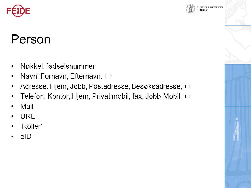 Person Nøkkel: fødselsnummer Navn: Fornavn, Efternavn, ++