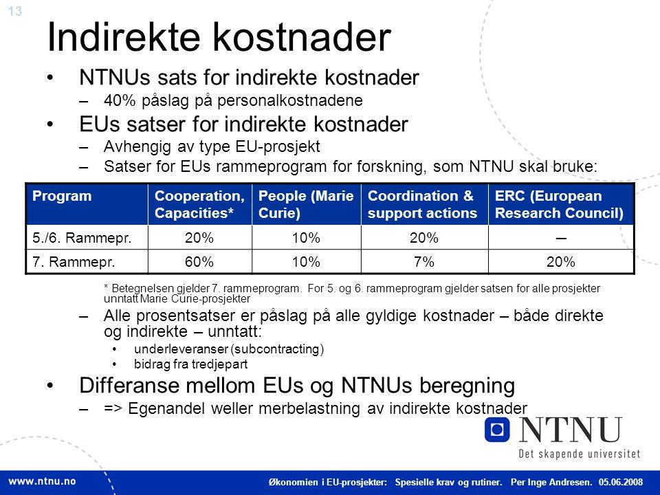 Indirekte kostnader NTNUs sats for indirekte kostnader