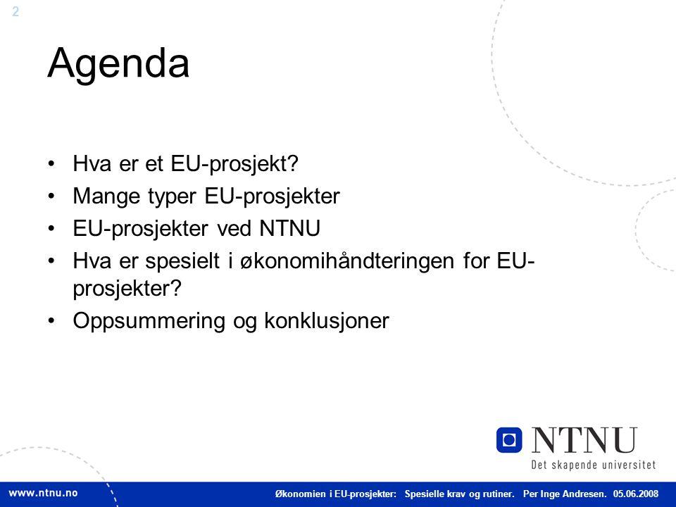 Agenda Hva er et EU-prosjekt Mange typer EU-prosjekter