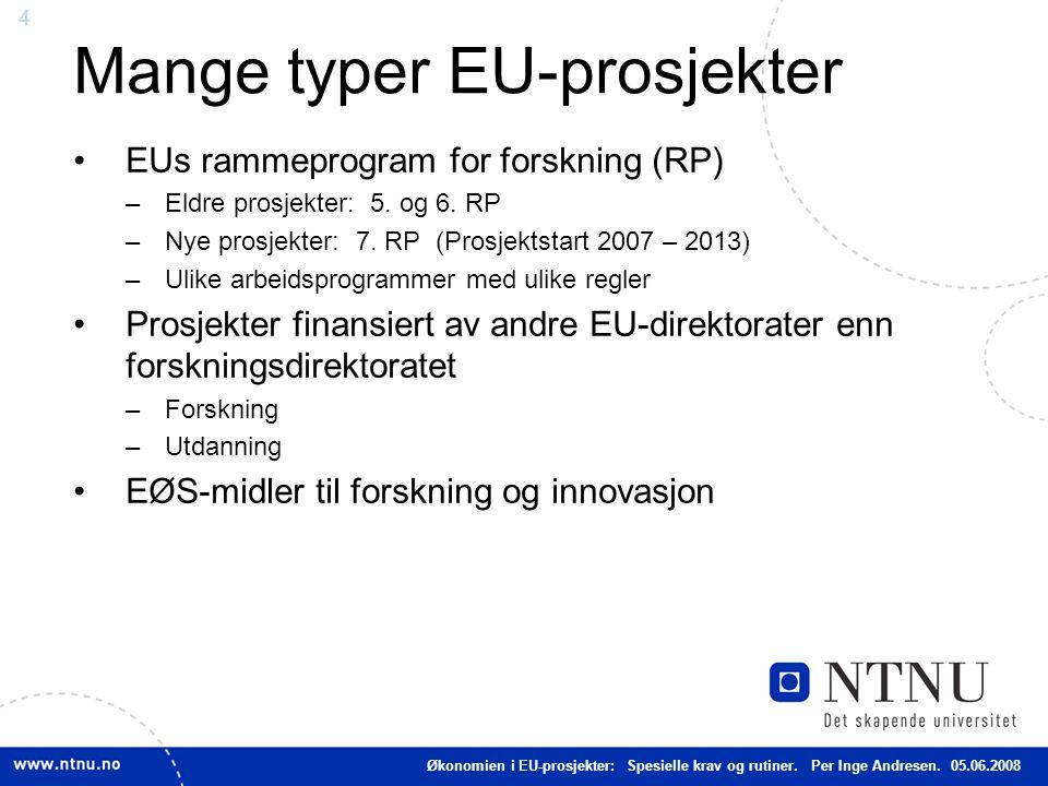 Mange typer EU-prosjekter