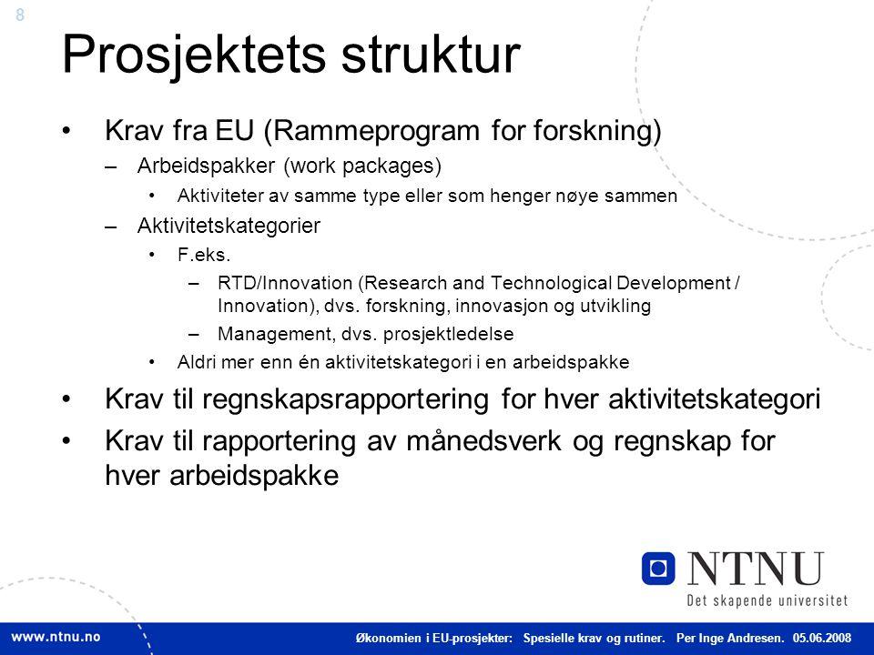 Prosjektets struktur Krav fra EU (Rammeprogram for forskning)