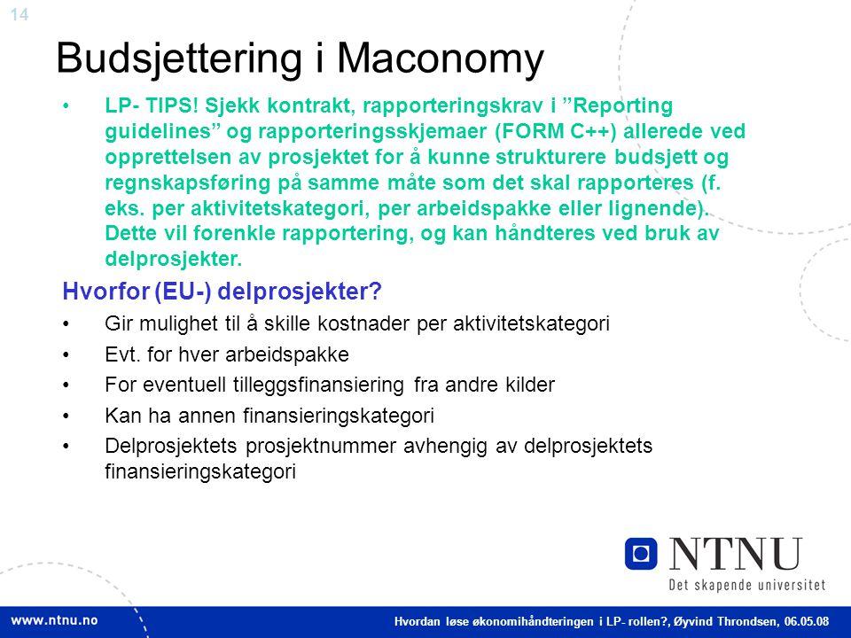 Budsjettering i Maconomy