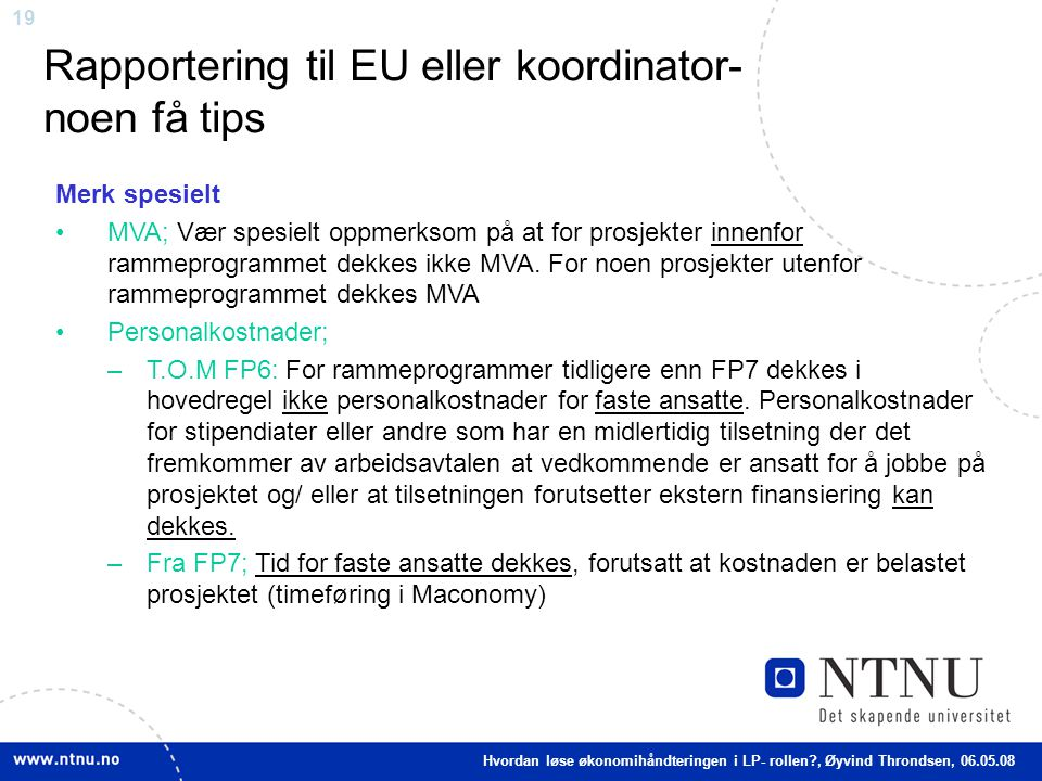 Rapportering til EU eller koordinator- noen få tips