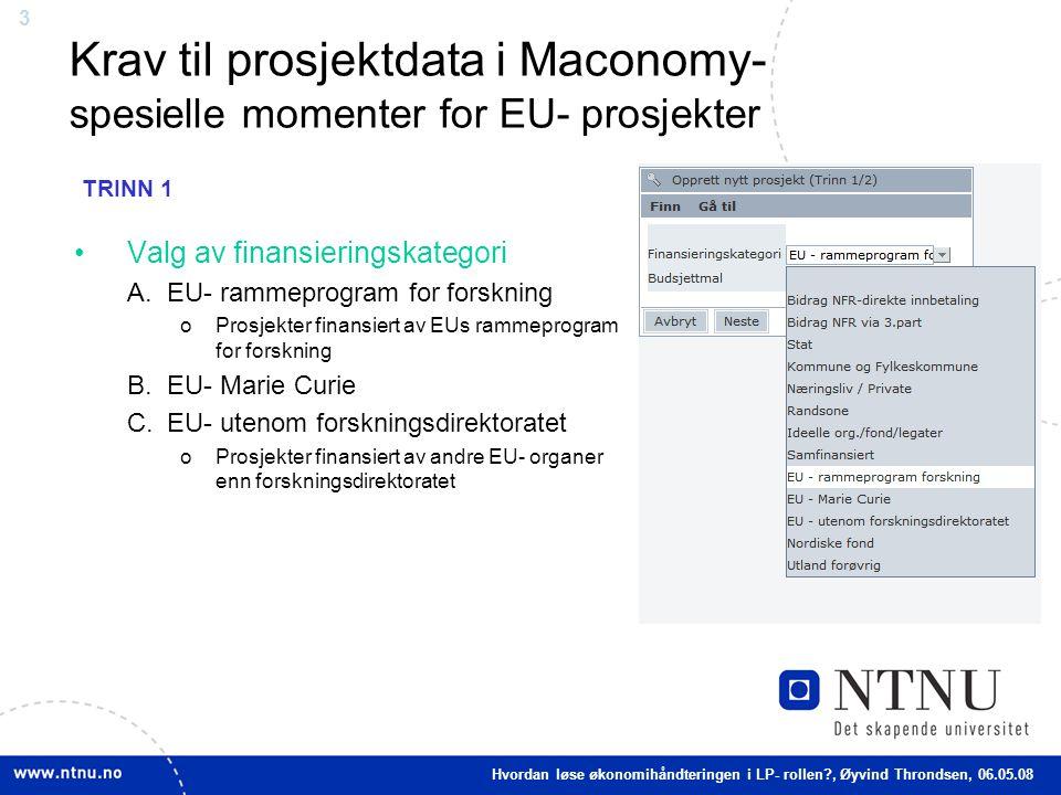 Krav til prosjektdata i Maconomy- spesielle momenter for EU- prosjekter