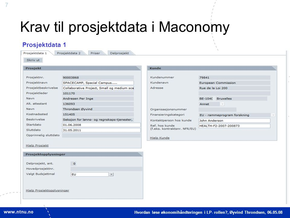 Krav til prosjektdata i Maconomy