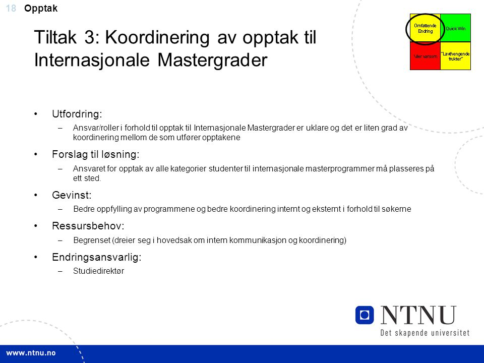 Tiltak 3: Koordinering av opptak til Internasjonale Mastergrader