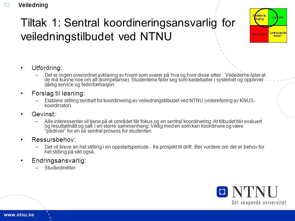 Veiledning Tiltak 1: Sentral koordineringsansvarlig for veiledningstilbudet ved NTNU. Utfordring: