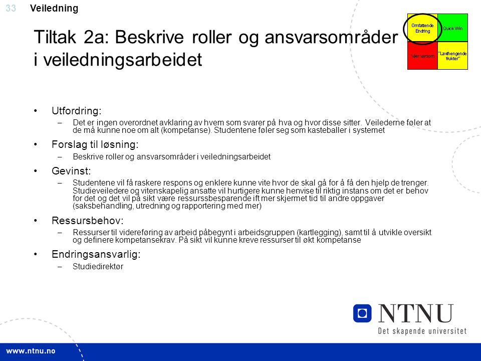 Tiltak 2a: Beskrive roller og ansvarsområder i veiledningsarbeidet