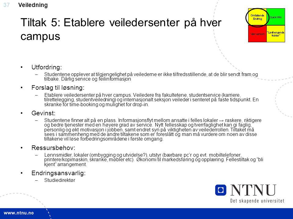 Tiltak 5: Etablere veiledersenter på hver campus