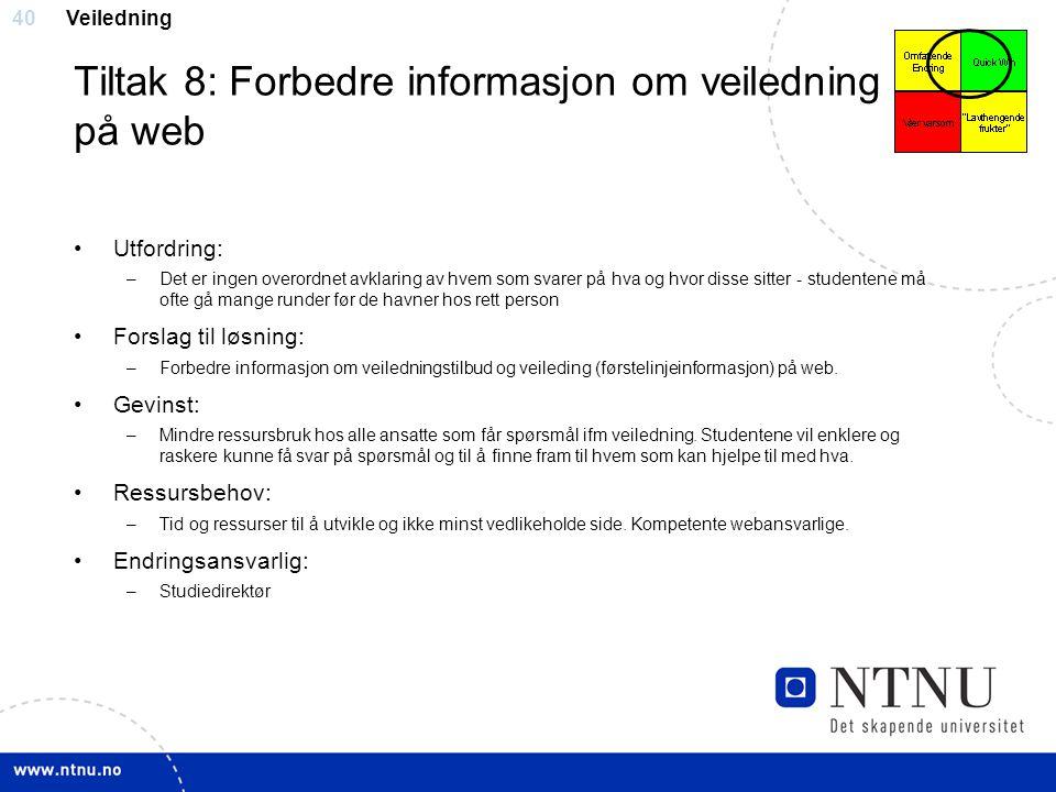 Tiltak 8: Forbedre informasjon om veiledning på web