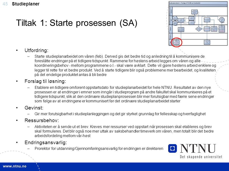 Tiltak 1: Starte prosessen (SA)