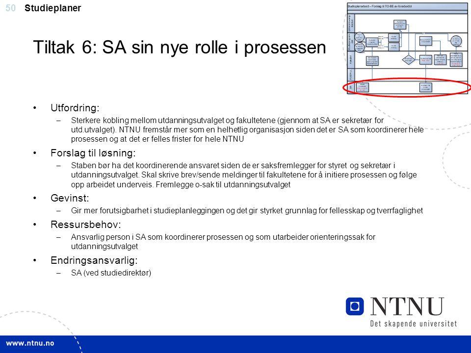 Tiltak 6: SA sin nye rolle i prosessen