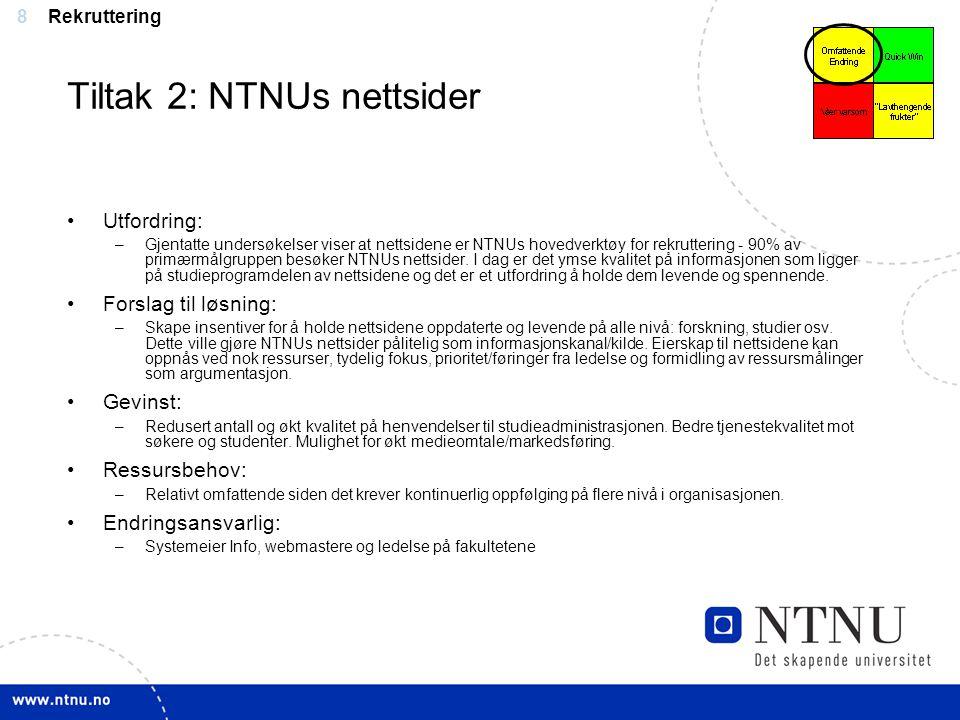 Tiltak 2: NTNUs nettsider