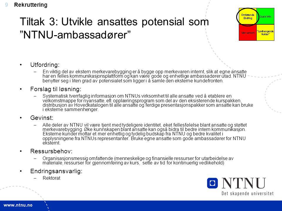 Tiltak 3: Utvikle ansattes potensial som NTNU-ambassadører
