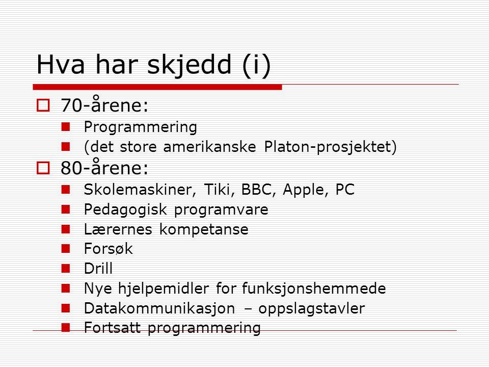 Hva har skjedd (i) 70-årene: 80-årene: Programmering