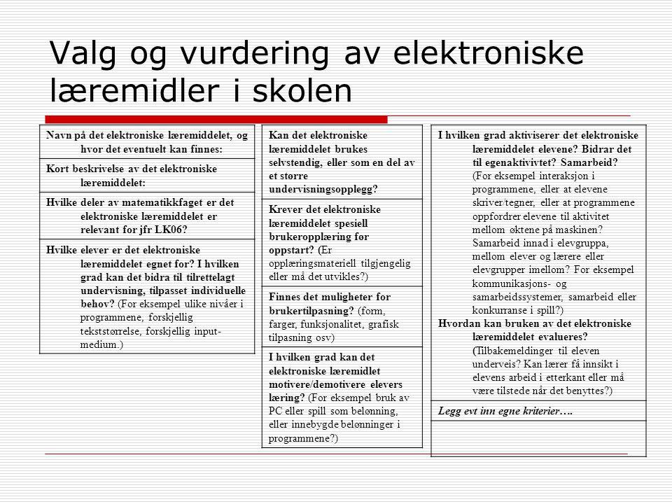 Valg og vurdering av elektroniske læremidler i skolen