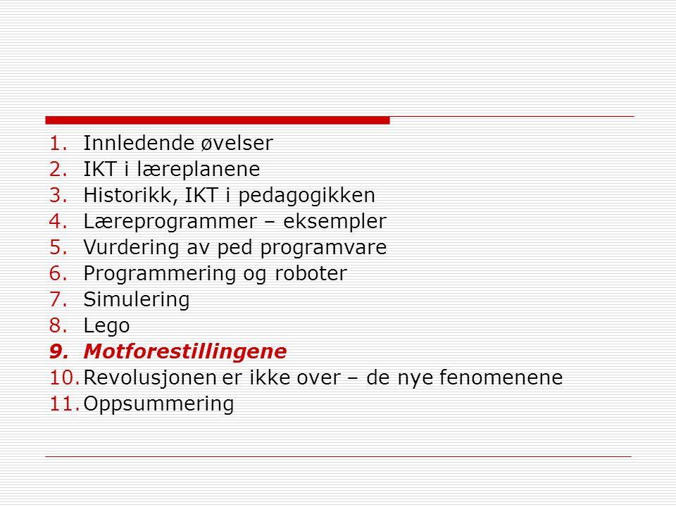 Innledende øvelser IKT i læreplanene. Historikk, IKT i pedagogikken. Læreprogrammer – eksempler. Vurdering av ped programvare.