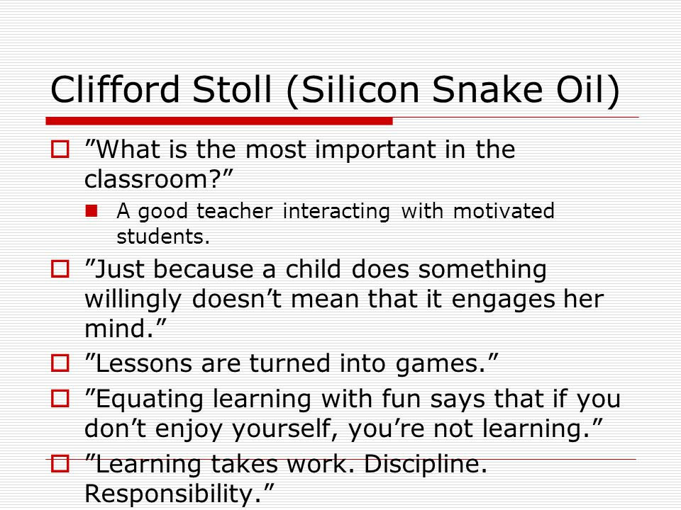 Clifford Stoll (Silicon Snake Oil)