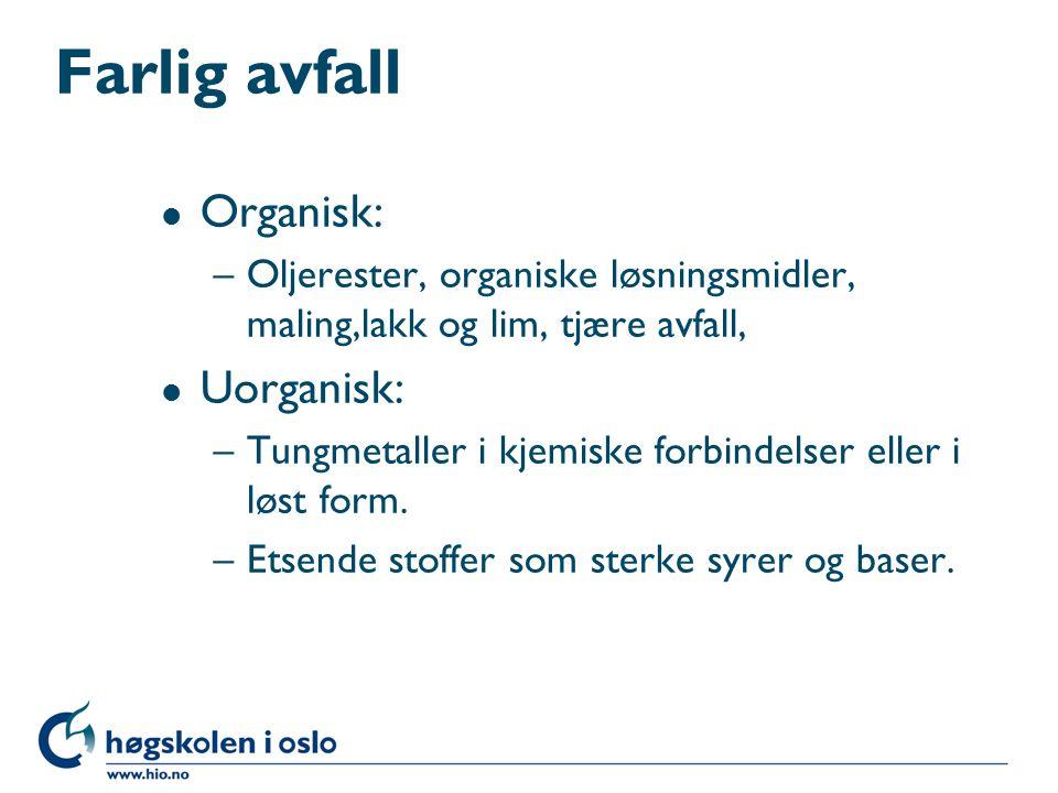 Farlig avfall Organisk: Uorganisk: