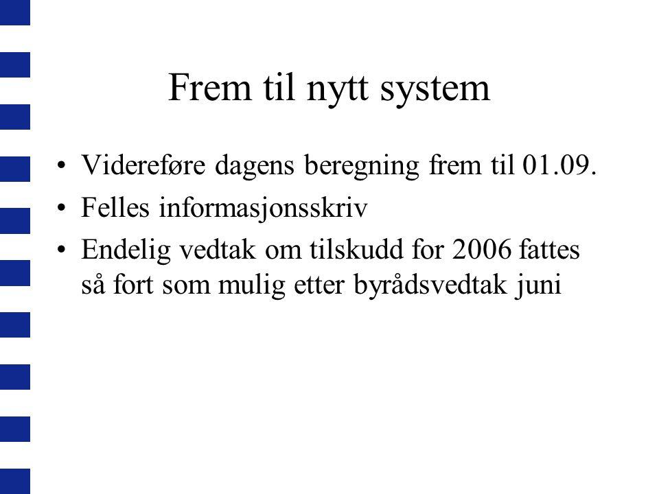 Frem til nytt system Videreføre dagens beregning frem til 01.09.