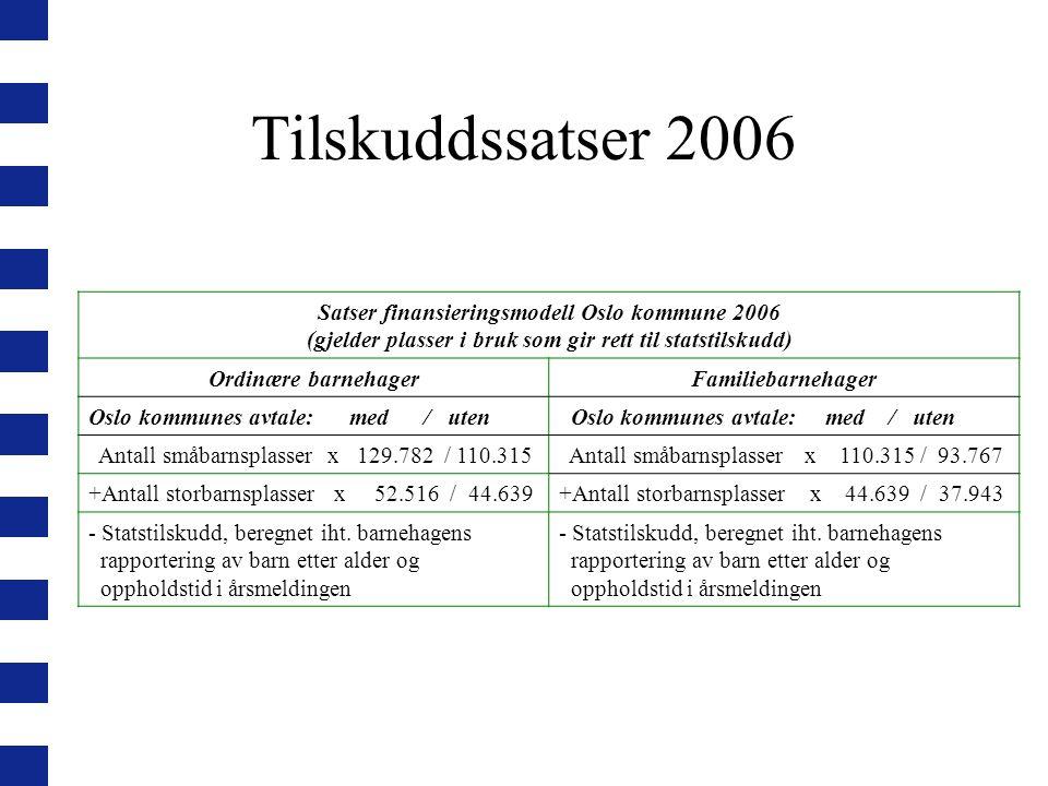 Tilskuddssatser 2006 Satser finansieringsmodell Oslo kommune 2006