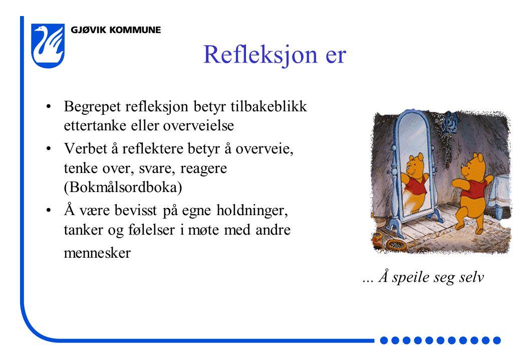 Refleksjon er Begrepet refleksjon betyr tilbakeblikk ettertanke eller overveielse.