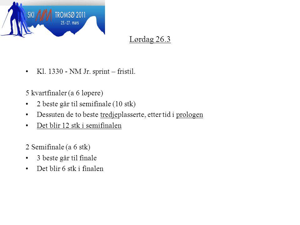 Lørdag 26.3 Kl. 1330 - NM Jr. sprint – fristil.