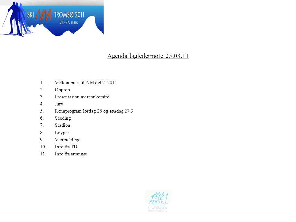 Agenda lagledermøte 25.03.11 Velkommen til NM del 2 2011 Opprop