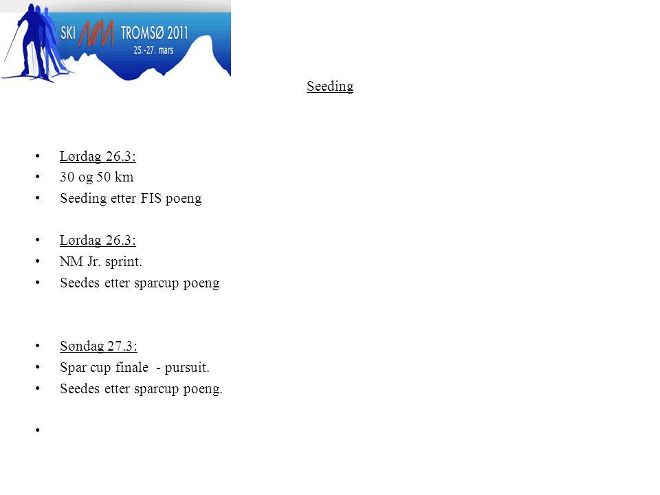 Seeding Lørdag 26.3: 30 og 50 km. Seeding etter FIS poeng. NM Jr. sprint. Seedes etter sparcup poeng.