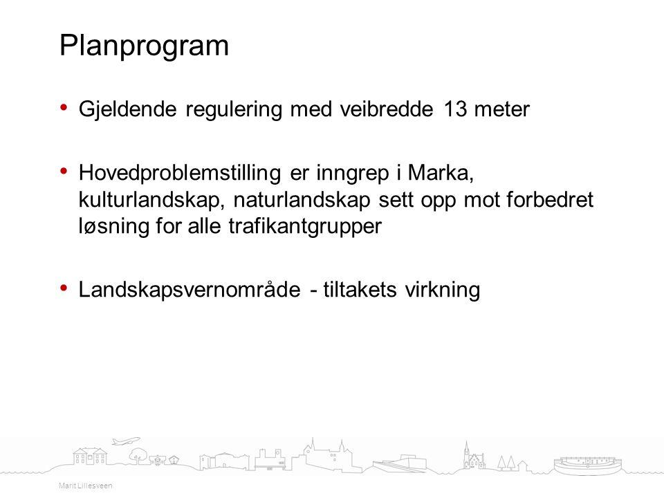 Planprogram Gjeldende regulering med veibredde 13 meter