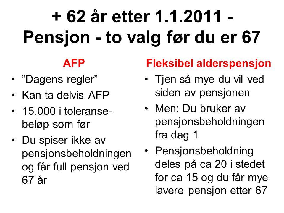 + 62 år etter 1.1.2011 - Pensjon - to valg før du er 67