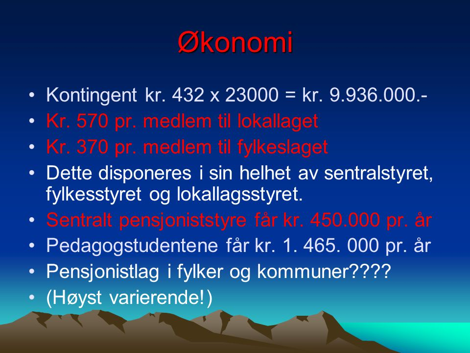 Økonomi Kontingent kr. 432 x 23000 = kr. 9.936.000.-