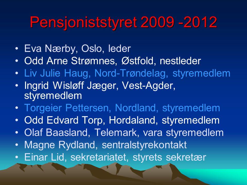 Pensjoniststyret 2009 -2012 Eva Nærby, Oslo, leder