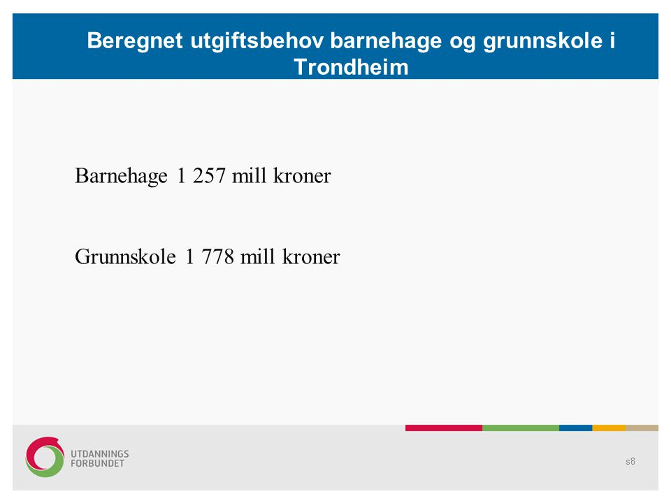 Beregnet utgiftsbehov barnehage og grunnskole i Trondheim